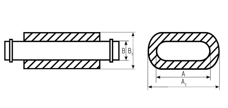 Глушитель трубчатый плоскоовального сечения